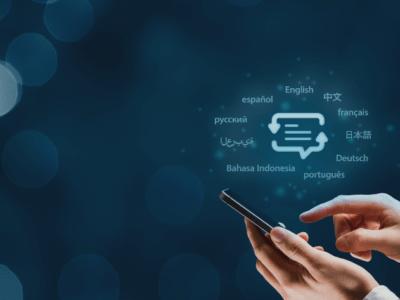 comunicação ágil e eficaz através da tradução profissional, demonstrada em aplicativo digital com diversas opções de idiomas