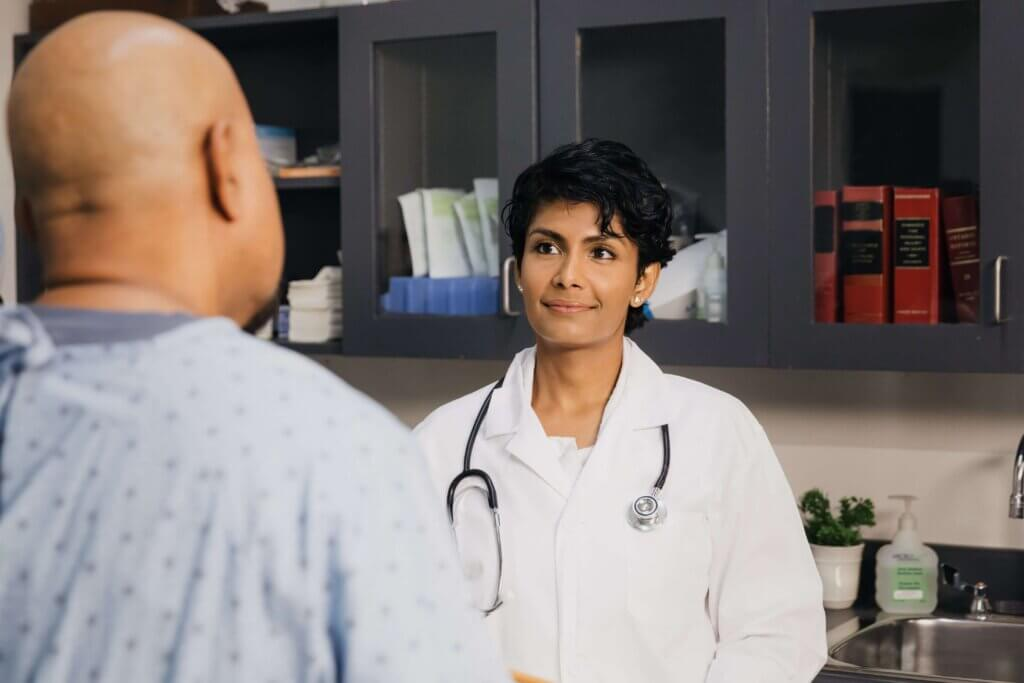 Multilingual patient recruitment. Woman doctor paying attention to patient.
